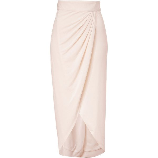 RACHEL ZOE Ecru Abbey Wrap Skirt found on Polyvore featuring polyvore, fashion, clothing, skirts, bottoms, maxi skirts, jupes, saias, wet look skirt and draped wrap skirt