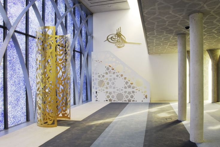 The mihrab (prayer niche) and minbar (pulpit) in the Islamic Forum of Penzberg, Germany. Built in 2005 and designed by Alen Jasarevic.