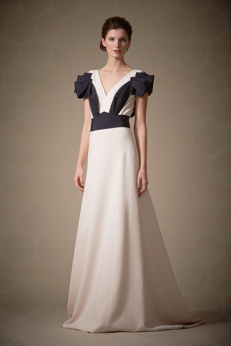 Carolina Herrera Pre-Fall 2014 Fashion Show - Ava Smith.  I like the shoulder cap sleeve creation.