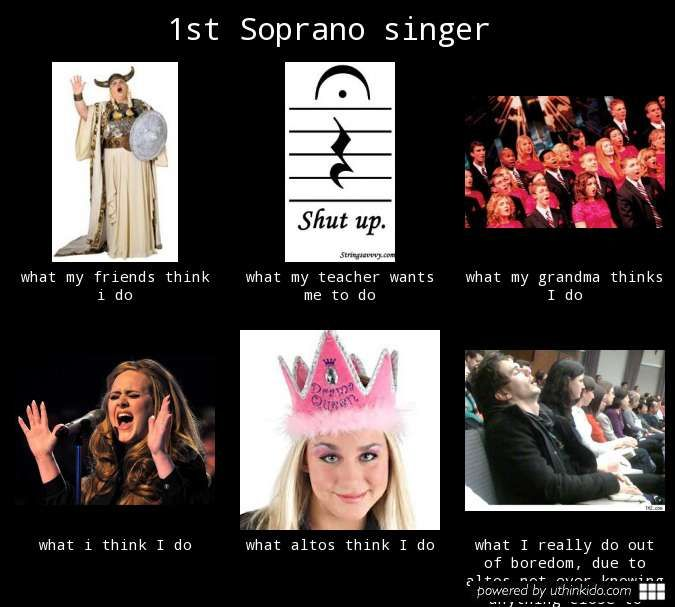 1st soprano singer - What people think I do, What I really do. True for mezzo sopranos as well, FYI. :)