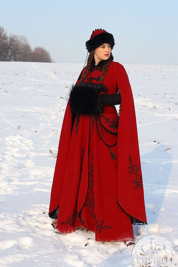 Medieval Fantasy Wool Winter Coat Queen of Shamakhan by armstreet
