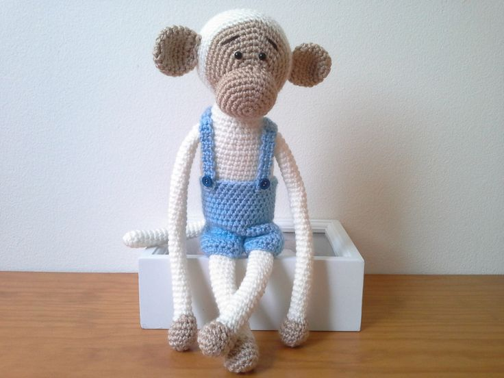 Monkey Curtain Tie Back, Crochet Monkey, Amigurumi, White Monkey with Blue Overalls, Monkey with Removable Overalls by MonoBlanco on Etsy https://www.etsy.com/listing/232705759/monkey-curtain-tie-back-crochet-monkey