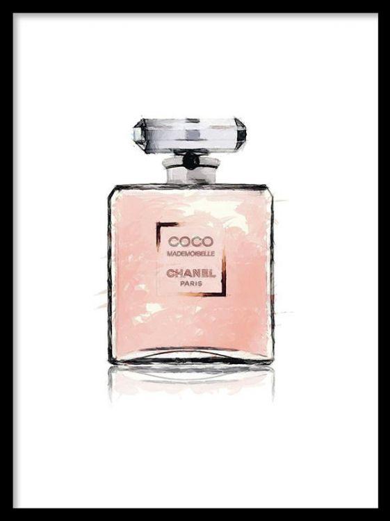 Fashion poster med Chanel Mademoiselle parfym. Desenio.se säljer flera posters och prints med motiv föreställande Chanel smink / makeup. Tavlor med chanel nagellack och läppstift. Affischer och planscher med fashion och make up.