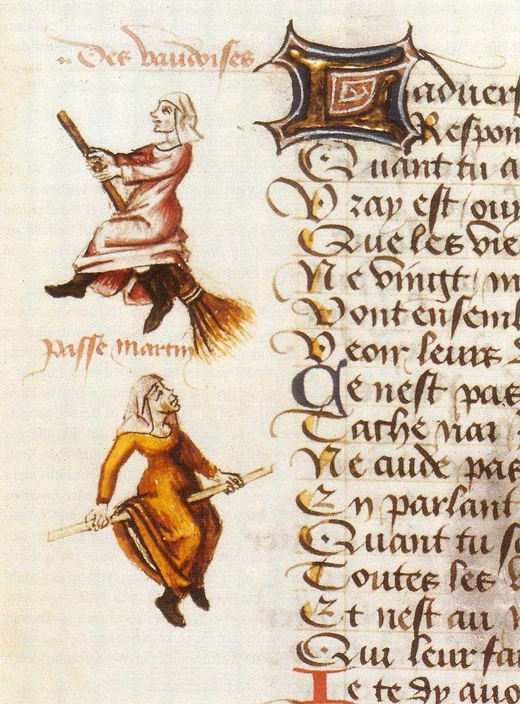 Vliegende heksen in Champion des Dames (manuscript uit 1454), 1451. Dit is de oudst bekende afbeelding van vliegende heksen op een bezem. De vrouwen dragen de kleding van Waldenzen, een in de middeleeuwen ontstane christelijke armoedebeweging. Waldenzen belandden als ketters op de brandstapel.