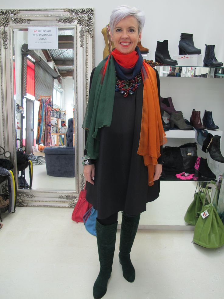 Dress by Lady Petrova, Sydney. Boots, Transonic in emerald suede, by Minx Scarf from Minx. Necklace from Minx