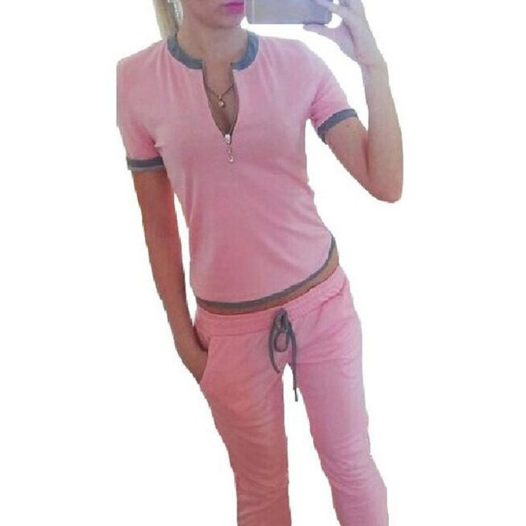 Pullover Solid Women Casual Pink Suit Stylish Sleeve Tops + Pants Set Tracksuit Sportswear Fitness Set Accessories Pink New