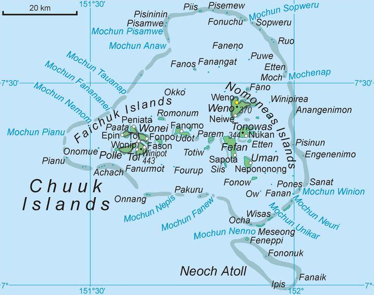 Mapa atolu Chuuk w mikronezyjskim stanie Chuuk // Map_Chuuk_Islands ◆Föderierte Staaten von Mikronesien – Wikipedia http://de.wikipedia.org/wiki/F%C3%B6derierte_Staaten_von_Mikronesien #Micronesia
