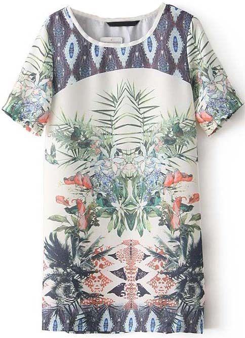 Beige Short Sleeve Floral Chiffon Straight Dress - Sheinside.com