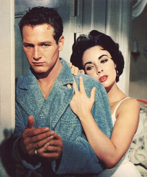 """This film was originally to be filmed in black and white, as was the standard practice with """"artistic"""" films in the 1950s. However, once Paul Newman and Elizabeth Taylor were cast in the leads, director Richard Brooks insisted on shooting in color, in deference to the public's well known enthusiasm for Taylor's violet and Newman's strikingly blue eyes. ♥ Cat on a Hot Tin Roof (1958) [x]"""