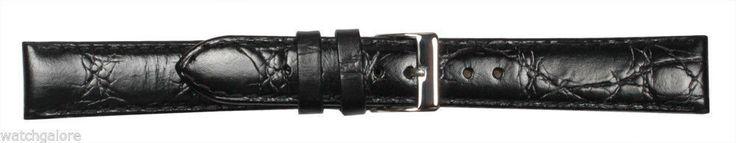 Men'S Crocodile Grain Calf Leather Watch Strap Band