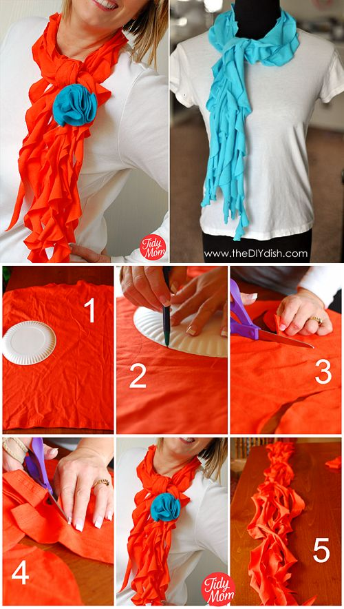 No Sew Scarf from an Old T-shirt – DIY [video]