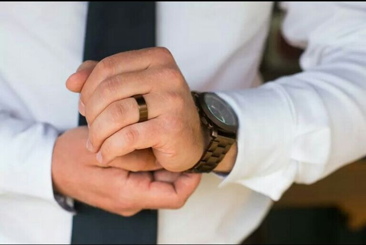 He opted for something unique. #bronze #wedding #ring #his