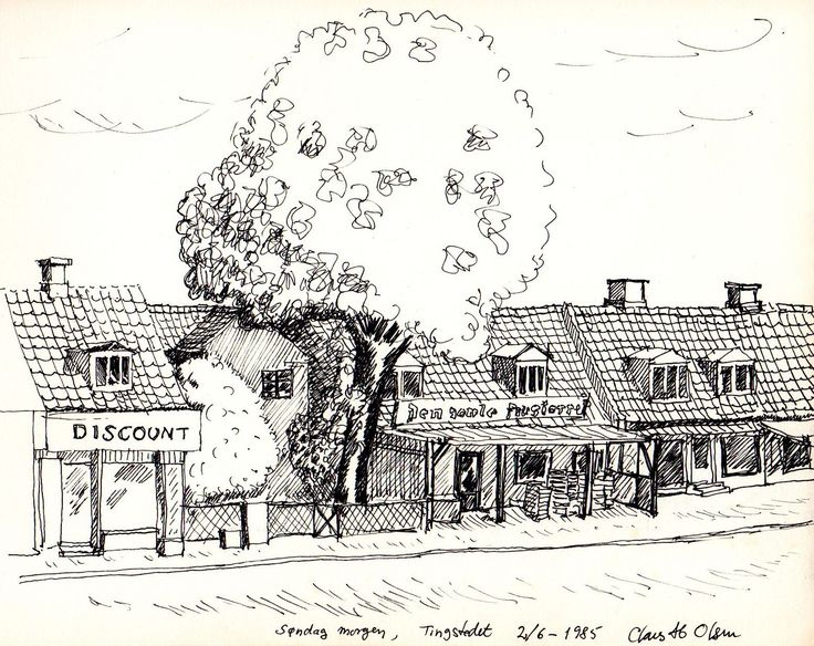 Old houses in Valby - 1985 - Pen drawing - Claus Ib Olsen