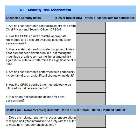 Physical Security Risk Assessment Template Beautiful 10 Sample