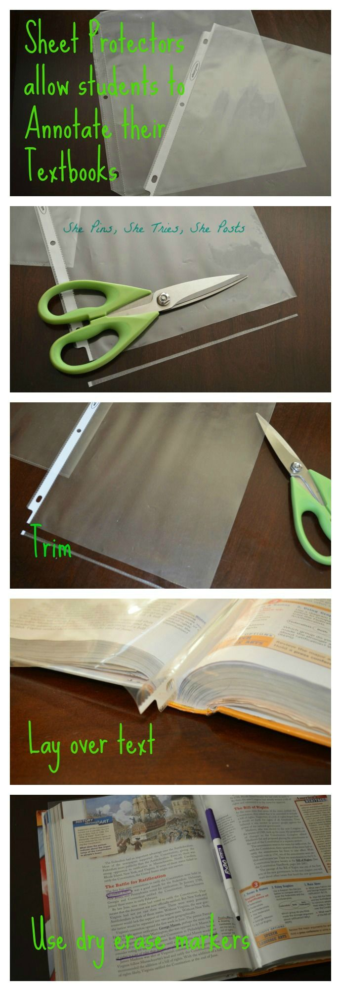 THIS IS GENIUS! Use great critical reading strategies without copying the textbook! Students can keep a sheet protector in their notebook/binder to have ready in any class! Simply trim the side and bottom edge, leave three hole punched edge. Write with dry-erase markers, then wipe clean for the next 2-page spread