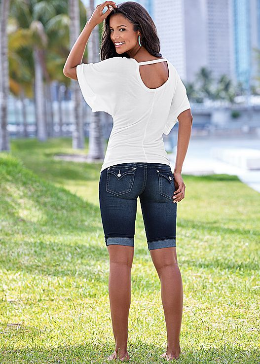 Wearing these shorts to your next summer BBQ! Venus long jean shorts.