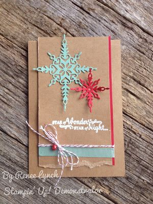 Christmas card using Stampin Up Star of Light bundle from 2016 holiday…