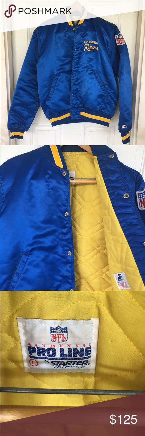 Vintage NFL LA Rams Bomber Jacket, blue Vintage; rare piece with Los Angeles logo; size Large; all defects are shown in photos- stain on right front; discoloring near neckline from wear Jackets & Coats Bomber & Varsity