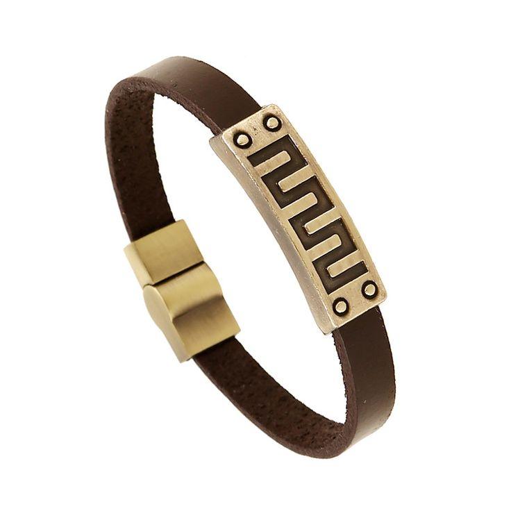 New arrival latest fashion Geometric symbol handmade 21cm genuine Leather Bracelets wristband for women  men's bracelet