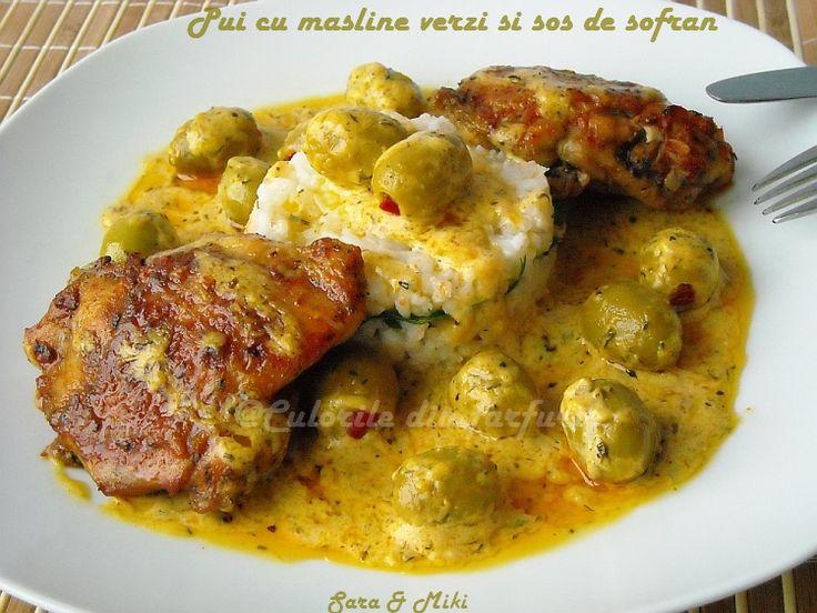 Pui cu masline verzi si sos de sofran ~ Culorile din farfurie