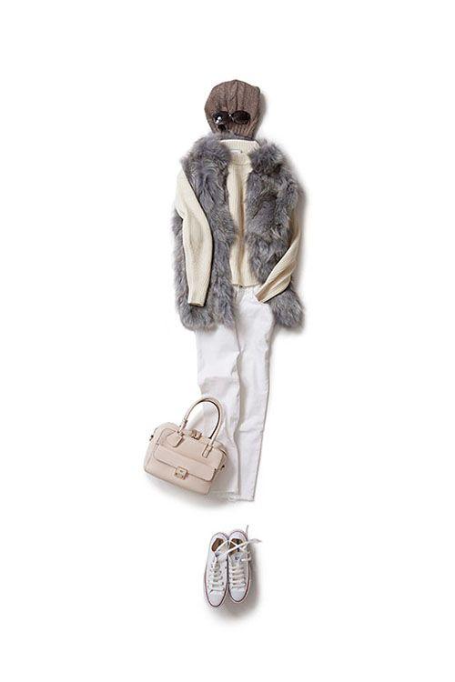 上品で優しげな秋のミルキーコーデ 2015-10-20 | vest price :199,800 brand : REGINA | sweater price :32,400 brand : THE IRON | jeans brand : AG | cap price :19,440 brand : REGINA