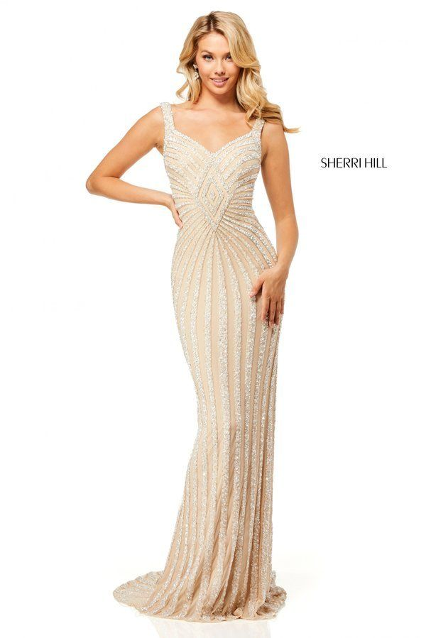 0863e0927314 Fully beaded gown with lace up back. Sherri Hill Style 52563 Nude/Silver  Size 10