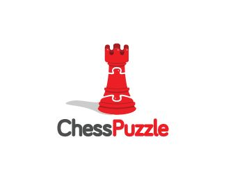 Chess Puzzle Logo design - Logo design of a chess piece with the middle shaped like a puzzle piece.  Price $299.00
