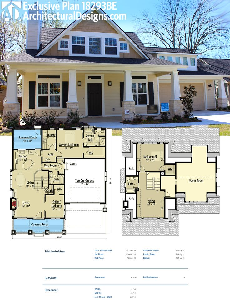 Architectural Designs Exclusive Bungalow House Plan 18293BE gives you a master-on-main and a bedroom (or two if you use the sitting room as a bedroom) upstairs. Plus a bonus room over the garage. Over 1,900 square feet of living space. More photos online. Ready when you are. Where do YOU want to build?
