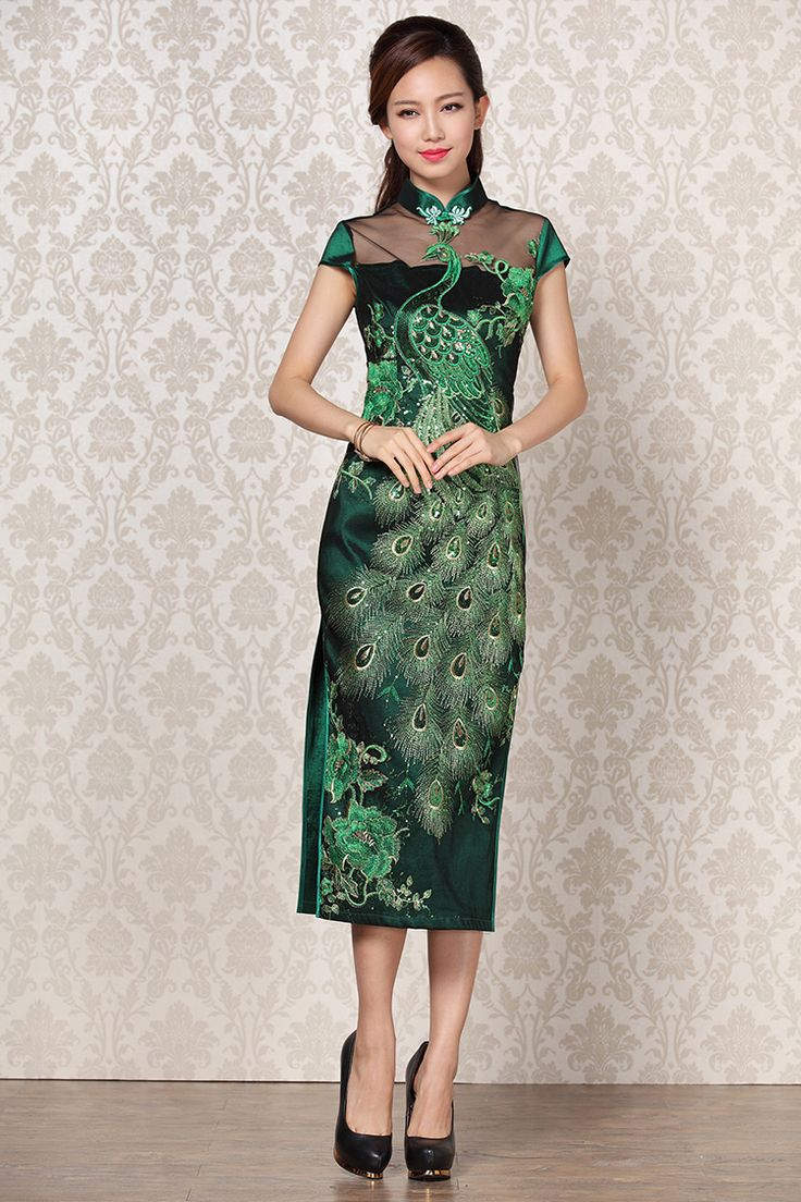 premiumhentai 3d 58 Cheongsam | peacock floral embroidered long qipao traditional Chinese  cheongsam .