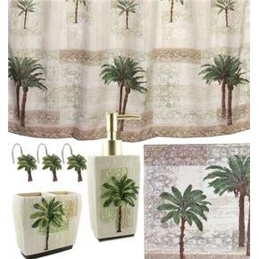 Palm Kitchen Decor | Palm Tree Bath Set, Tropical Decor Shower Curtain Rug