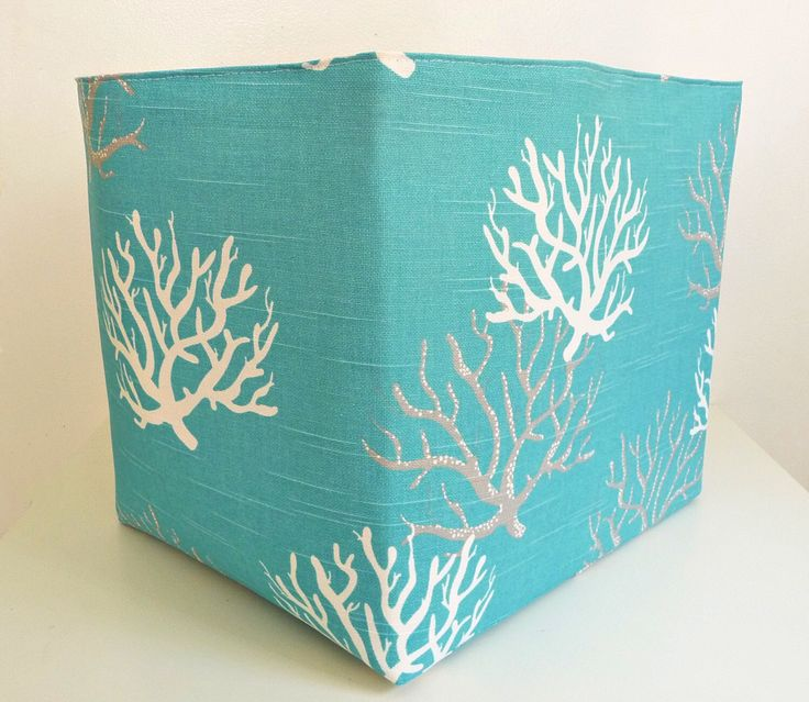Extra Large Storage Basket Fabric Organizer in Coastal Blue Coral with Natural Canvas liner - Choose Size by littlehenstudio on Etsy https://www.etsy.com/listing/191632728/extra-large-storage-basket-fabric