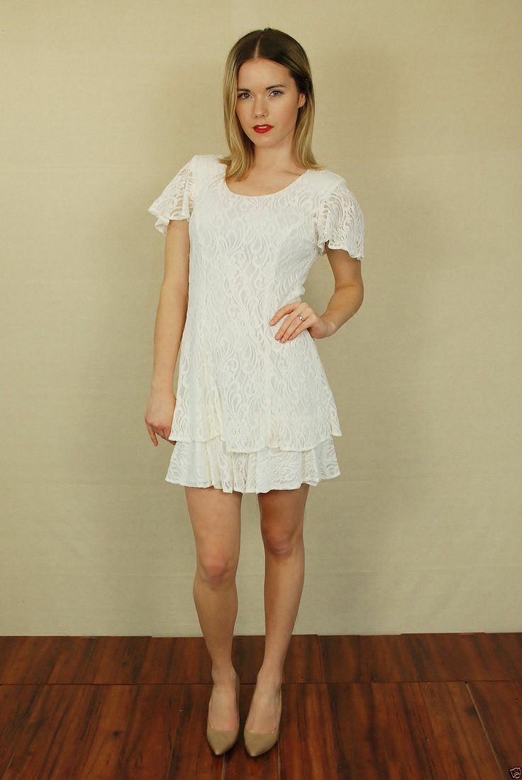 Vtg 80s white lace ruffle sleeve party cocktail baby doll for Baby doll wedding dress bridal gown