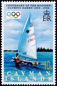 Stamp: Sailing (Cayman Islands) (Cent. Of Modern Olympic Games) Mi:KY 752,Sn:KY 718