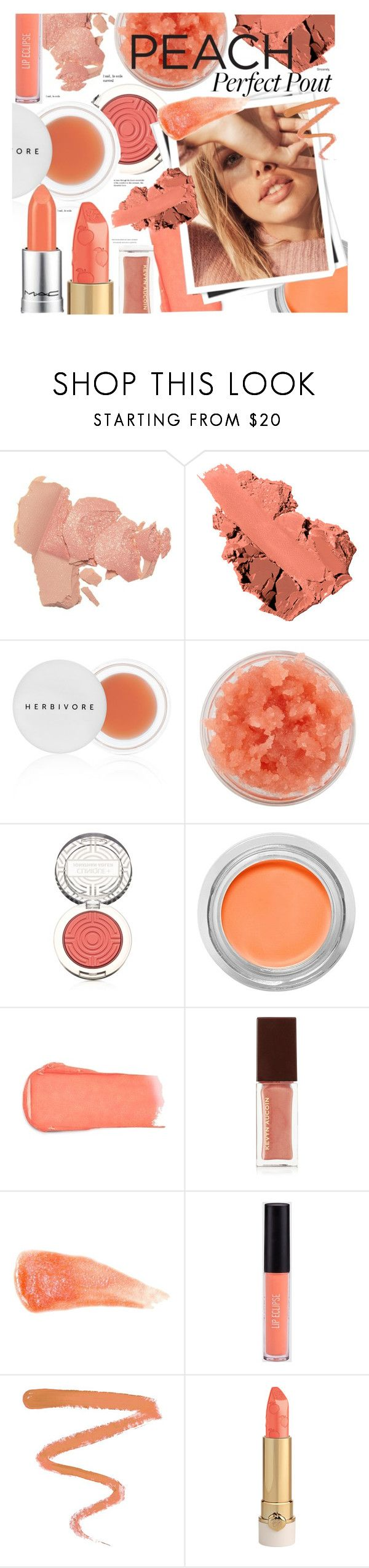 """""""Peach Perfect Pout"""" by paperdollsq ❤ liked on Polyvore featuring beauty, Bobbi Brown Cosmetics, Herbivore, Sara Happ, Clinique, Kevyn Aucoin, GALA, Anastasia Beverly Hills and Ellis Faas"""