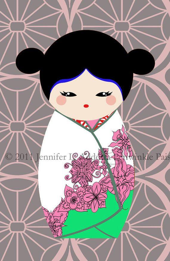 Japanese Kokeshi Dolls Digital Collage Sheet by PeriwinklePaisley