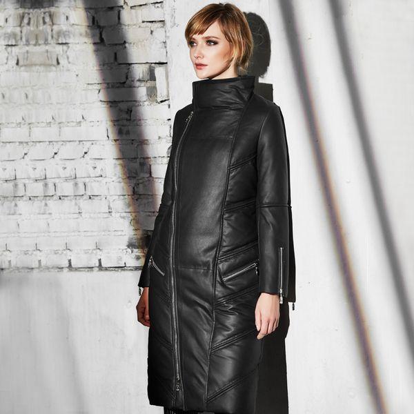UNQ большая кожаная куртка воротник Тонкий женский зима новый матовый овчины Девушки длинный участок толщиной большой ярдов