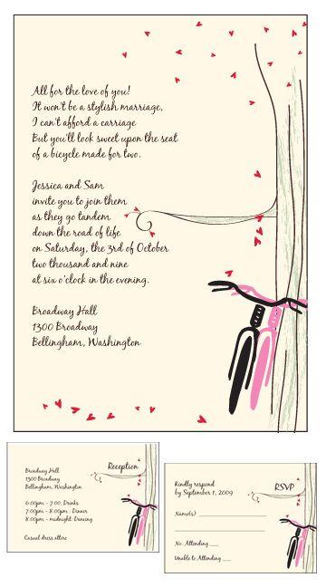 Springtime Love, Bicycle Invitations, Bicycle Wedding, Bicycle Party, Bicycle Tandem Wedding