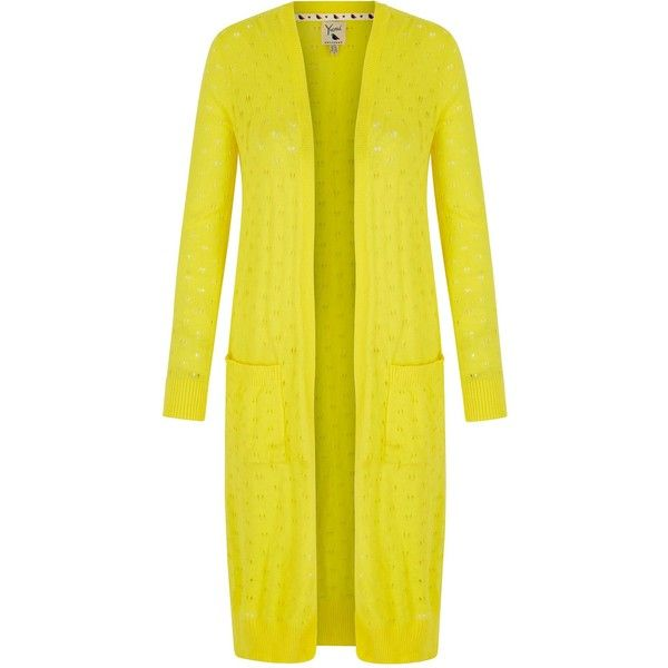 Yumi Long Pointelle Cardigan (£33) ❤ liked on Polyvore featuring tops, cardigans, clearance, yellow, v-neck cardigan, long sleeve open front cardigan, open front cardigan, long cardigan and yellow v neck cardigan