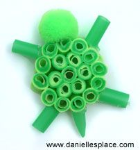 Drinking Straw Turtle Craft Use As A Quilling Pattern Idea