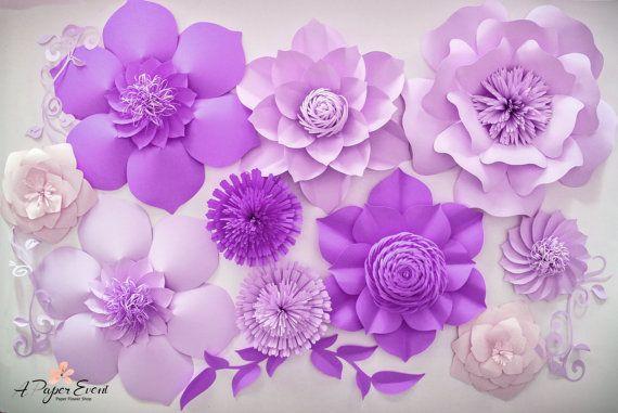 Decoración de cumpleaños de telón de fondo, flores de papel gigantes, de flores de papel