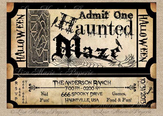 halloween haunted maze ticket invitation by LisaMariesPaperie, $14.00