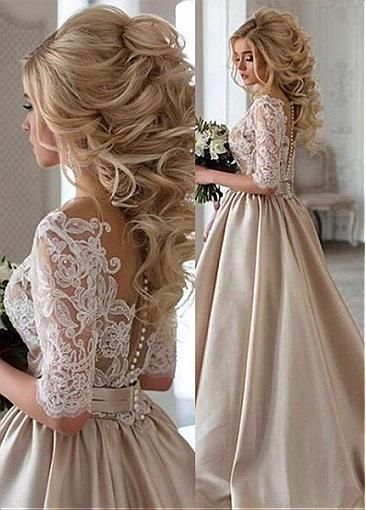 Attractive Tulle & Satin Jewel Neckline A-Line Wedding Dresses With Beaded Lace Appliques