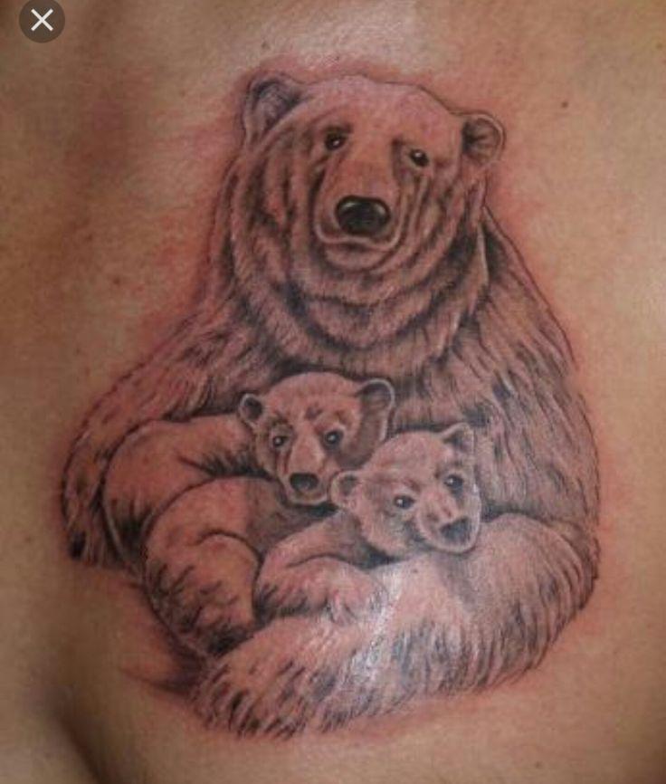 Momma Bear and Baby Bears Cubs tattoo, Black bear tattoo
