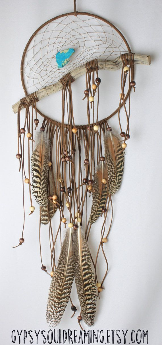 Large Brown & Natural Dream Catcher with por GypsySoulDreaming