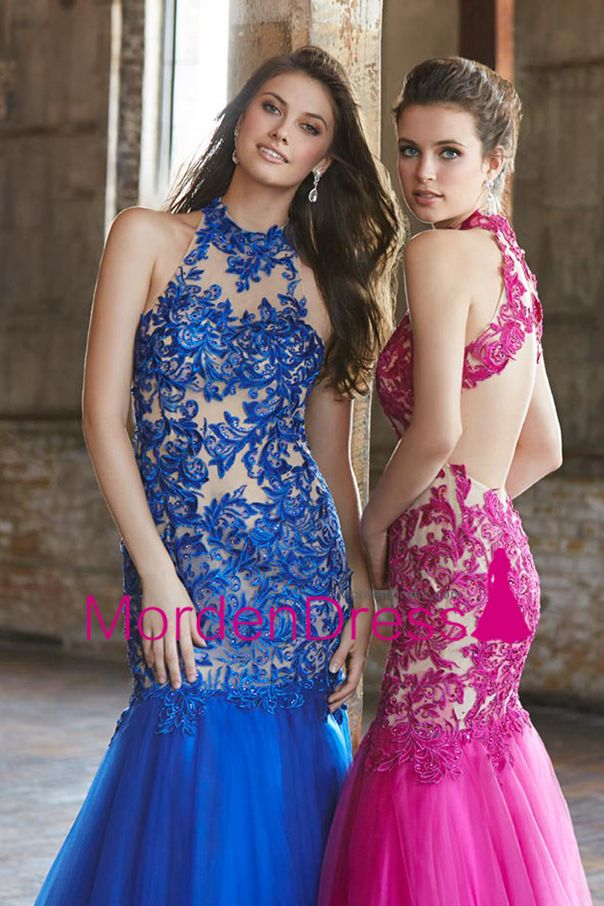 2015 High Neck Prom Dresses Mermaid Tulle With Applique