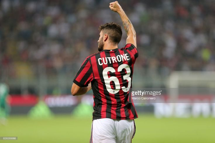 Patrick Cutrone of AC Milan celebrates his goal during the UEFA Europa League Third Qualifying Round Second Leg match between AC Milan and CSU Craiova AC Milan won 2-0 on the night and entered into the Europa League play-off round with a 3-0 aggregate win over the two legs.