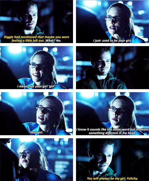 Arrow - Oliver & Felicity.. i truly haven't cared about two people getting together in a show this much ever.