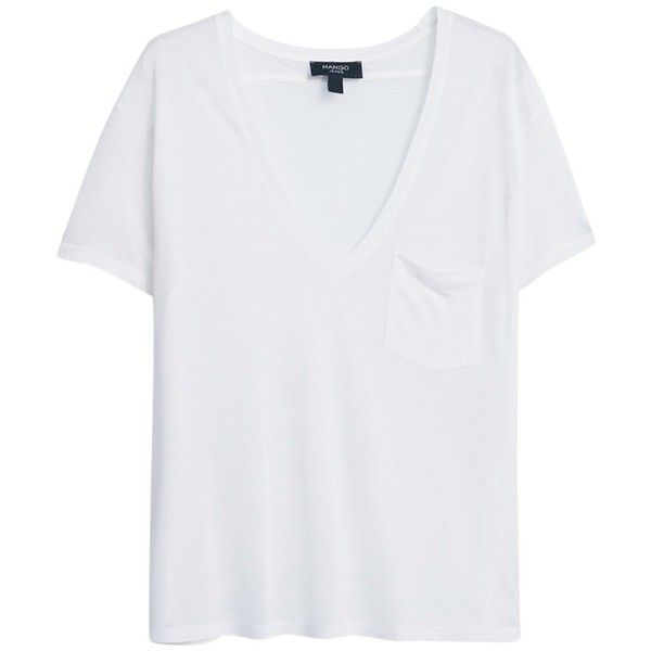 Mango Patch Pocket T-Shirt , Natural White found on Polyvore
