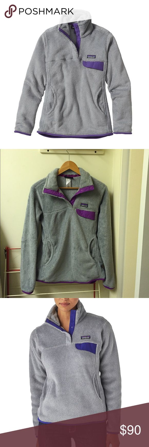 Patagonia Fleece Pullover Patagonia Women's Re-Tool Snap-T Fleece Pullover; tailored grey-purple; only worn once Patagonia Jackets & Coats