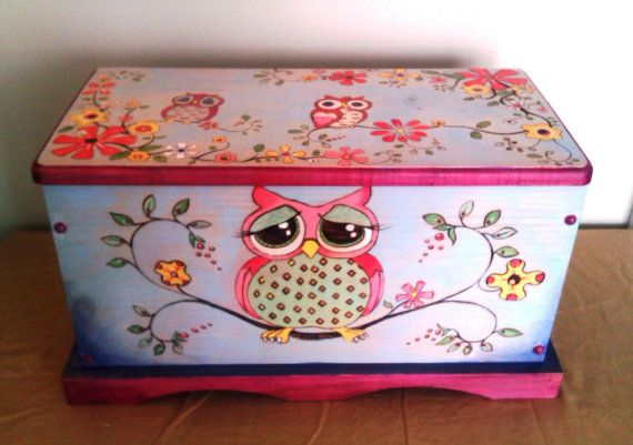 Owl Hope Chest/Toy Box Hand Crafted Using Pyrography and Color is Wood Staining Technique. This item is not painted so the colors will not peel or chip. 24X13X12